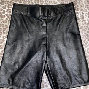Pants - Leather biker shorts